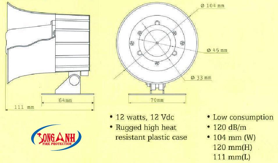 Bản vẽ kỹ thuật còi báo cháy Formosa FMD 101-12V/24V