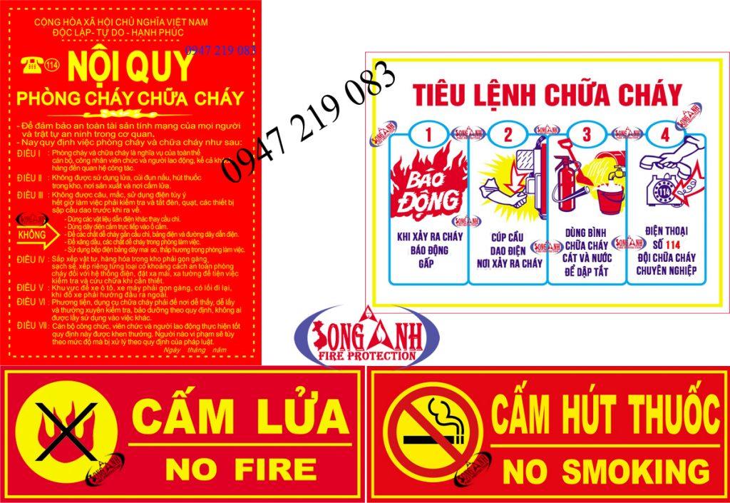 bảng nội quy - tiêu lệnh phòng cháy chữa cháy, bảng cấm lửa, cấm hút thuốc