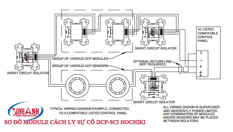 sơ đồ modul cách ly sự cố hochiki dcp-sci