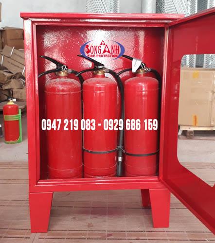 tủ chữa cháy ngoài nhà có chân mái 600x500x180mm