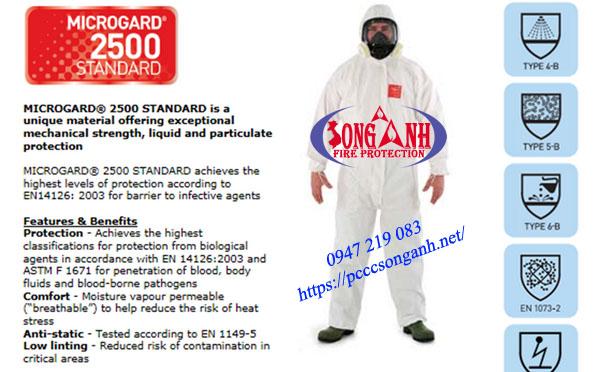 quần áo phòng chống hóa chất MicroGard 2500 Standard