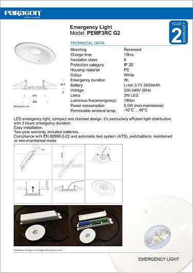Đèn sạc khẩn cấp Paragon PEMF3RC lắp âm trần