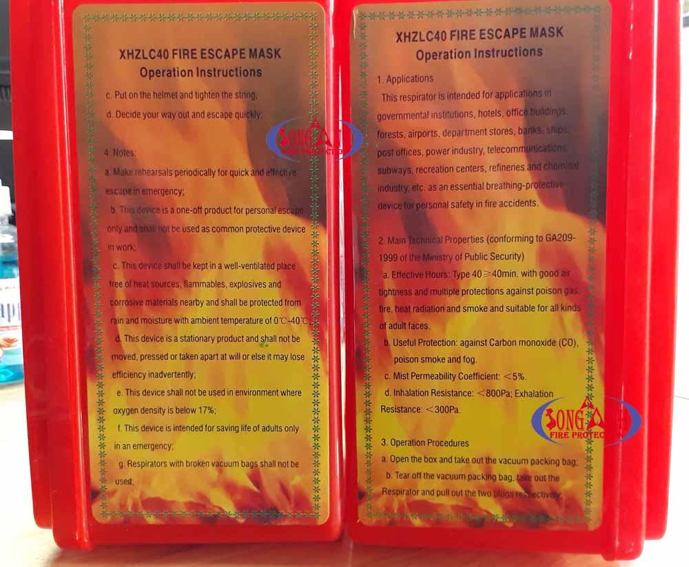 mặt nạ phòng khói - chống khói thoát hiểm XHZLC 40